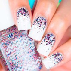 Fourth of July Nails: Designs in Red, White, and Blue – Nails Firework Nails, Patriotic Nails, 4th Of July Nails, July 4th Nails Designs, Nagel Gel, Glitter Nail Art, Blue Nails, Blue And White Nails, Pastel Nails
