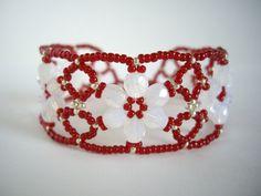 White flower bracelet White opal flower Dark red bracelet