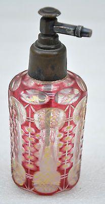 1850s Original Antique Ruby Red Bohemian Cut Glass Perfume Bottle | eBay