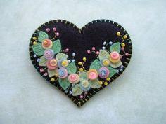 Felt Heart Pin \/ RESERVED FOR DARLA via Etsy