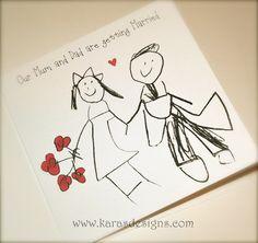 Kids Drawn Wedding Invites Flat Double Sided Karasdesigns Com