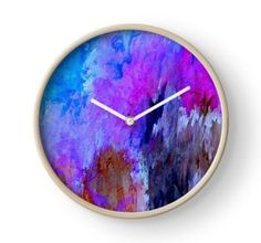Wall Clock, print,artistic,decorative,items,modern,beautiful,awesome,cool,home,office,wall,decor,decoration,theme,picture,stylish,classy,gifts,presents,ideas,for sale,colorful,blue,pink,abstract,redbubble