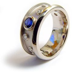 Custom Ring by Micky Roof for The Jewelbox in Ithaca, NY. Jewelry Rings, Jewelry Box, Fine Jewelry, For You Blue, Wide Band Rings, Unique Rings, Gemstone Rings, Rings For Men, Bling
