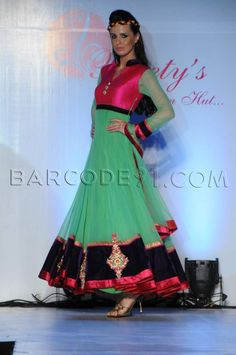 Pink and mint green Anarkali. Beautiful Indian ensemble