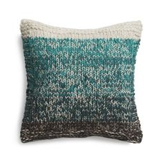 """Could this be done w Crochet?! Knit Arlo Turquoise 20"""" Pillow  