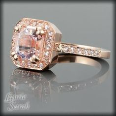 Save it  235  posted by PaytonsCloset14  $ 1084.50  Asscher Cut Morganite Rose Gold Engagement by LaurieSarahDesigns