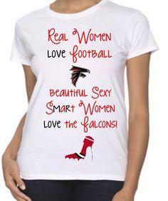 Womens Atlanta Falcons T-Shirt Smart Women Love the Falcons High Heel Free Ship