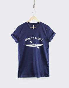 """Born to Paddle Kayak Shirt. This kayaking / canoeing t-shirt is made of premium quality ring spun cotton for a great quality soft feel, and comfortable retail fit. Our soft textile flex print gives a really high end finish to any striking design. This high quality print will not crack or fade which ensures your garment stays looking fantastic. Unisex Sizing Guide: S - 34/36"""" (Size 8 / 10) M - 38/40"""" (Size 12 / 14) L - 42/44"""" (Size 16 / 18) XL - 46/48"""" (Size 20 / 22) 2XL -..."""