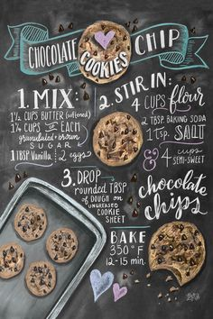 Recipe for Chocolate Chip Cookies | Poster | artboxONE