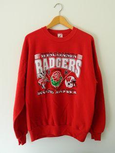 Wisconsin Badgers Rose Bowl 1994 Sweatshirt Bucky Badger Rose and Helmet by GreenBayGal on Etsy Team Fan Gift College Football Season