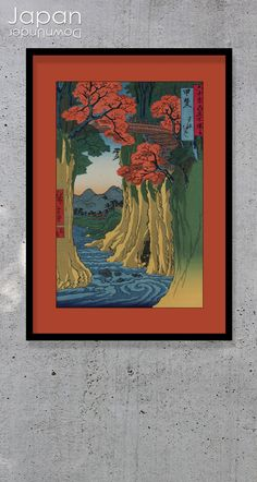 """A beautiful Hiroshige (1797-1858) landscape print titled 'Kai Province: Monkey Bridge,' It is from Hiroshige's series of 'Famous Views of the Sixty-odd Provinces.' The fine detail and colors are really wonderful and the vertical format accentuates the beauty and depth of the scene. Saruhashi (Monkey Bridge) is one of """"Japan's Three Odd Bridges."""" #japanesewoodblock #hiroshigewoodblockprint #japaneseartprint #kaiprovince #monkeybridgeukiyoe by #JapanDownUnder on Etsy Japanese Wall Art, Landscape Prints, Wood Blocks, Kai, Scene, Art Prints, Painting, Beautiful, Art Impressions"""
