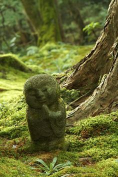 Jizu Statue - In Japanese folklore, Jizu are benevolent spirits who protect children