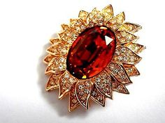Signed Christian Dior Pin Brooch Sunflower Gold Plated with Amber Crystal - Mint - http://designerjewelrygalleria.com/christian-dior/signed-christian-dior-pin-brooch-sunflower-gold-plated-with-amber-crystal-mint/