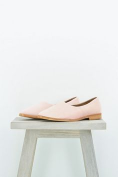 Osborn Pink flats. Handwoven thick faded cotton from up-cycled huipil remnants.