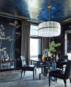 Glamour Reigns Supreme In A Chicago Pied-A-Terre - Luxe Interiors + Design Hand Painted Wallpaper, Print Wallpaper, Silk Wallpaper, Walnut Bedside Table, How To Dress A Bed, Murano Chandelier, Love Is, Art Deco Buildings, Dining Room Walls