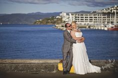 Wedding photography captured on Wellingtons stunning waterfront. Bride and groom and late afternoon light.