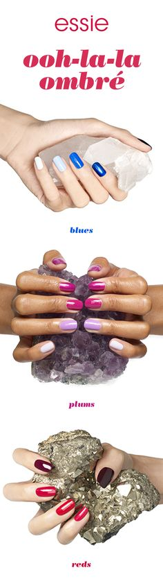 Ombrés are very much in style this season. Add an ooh-la-la to your essie mani with ombres that blend two nail polishes. Go from aquas and blues to plums and reds with mani perfection.