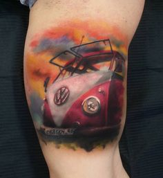 VW Camper Van on Guy's Arm | Best tattoo ideas & designs