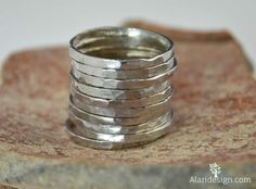 Pure Silver Stackable Rings // Fine Silver // Stack by Alaridesign Silver Stacking Rings, Stackable Rings, Silver Rings, Hammered Silver, 925 Silver, Copper, Sterling Silver, Measure Ring Size, Metal Jewelry