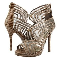 Viena19 Snake Mesh Caged High Heel TAUPE  Our Price: $ 42.00