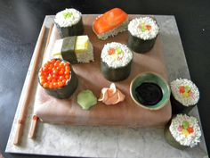 Sushi Cake All edible! vanilla cake with mocha cream filling and mmf covering. Sushi pieces are all cake with mmf and white sprinkles for. Sushi Cake, Mocha, Vanilla Cake, Sprinkles, Cream, Image Search, Desserts, Food, Creme Caramel