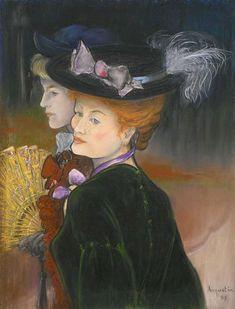 Louis Anquetin (1861-1932) was een Franse kunstschilder. De centrale figuur, met haar vlammende rode haar, lijkt sterk op Juliette Vary, een van de favoriete modellen van de kunstenaar.  Two ladies in the wood, 1889