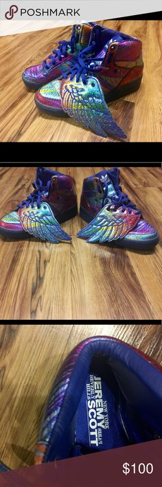 f078611c4847 Jeremy Scott Adidas Wings Rainbow Hologram Sz 8.5 Excellent condition!  Shimmering in all the colours