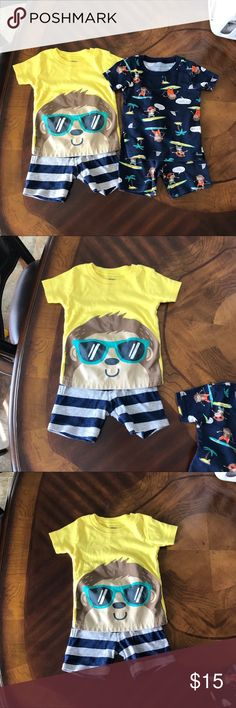 💰Sale💰 Two pj sets Two mix & match Pajama sets for 18month. Used but still in good condition, no major stains. Very soft & comfortableon, my son loved wearing them during the summer time 👌 Matching Sets