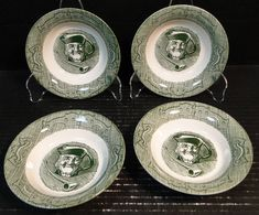 Royal China The Old Curiosity Shop Berry Bowls 5 Set of 4 Excellent Green Dinnerware, Vintage Dinnerware, The Old Curiosity Shop, Fair Oaks, Currier And Ives, China Patterns, 2 Set, Berries, Old Things
