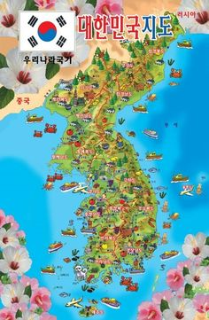 South korea travel map wonderful attractions design 61890174g korea map gumiabroncs Gallery