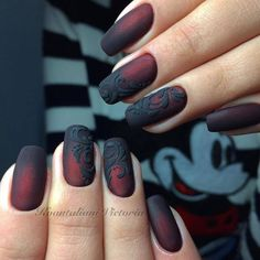 red and black ombre nail with 3d scroll flourish design