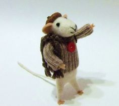 Fray The Merry Wanderer Is A Needle Felted Mouse by WildWoodHollow SOLD