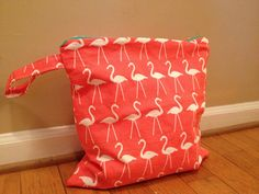 Large Waterproof Wet Bag - 14x14 - Flamingo Slub Duck Fabric with Teal Zipper on Etsy, 21 Threads