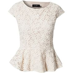 Club L Flower Lace Peplum Top (840 UYU) ❤ liked on Polyvore featuring tops, blouses, shirts, blusas, cream, white peplum top, lace peplum top, peplum shirt, white peplum shirt and cream blouse