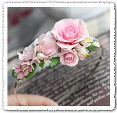 Hand Sculpted Roses Sweet Peas Leaves Lilacs and by lagoadesigns..