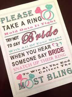 Bridal Shower Game: Don't Say Bride MINT & by PinkFlamingoParties
