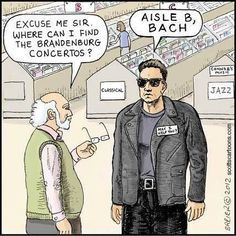 Aisle B, Bach | Created by  Scotts Cartoons | #music_puns