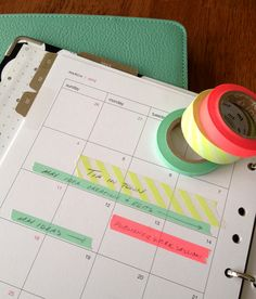 DIY washi tape calendar, good use for this fab tape. Plus bonus of glancing at calendar and knowing who/what is going on. :)
