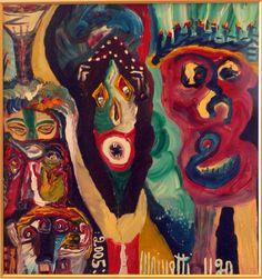 Eine Malerei des italienischen Art-Brut-Malers Ugo Mainetti, *1945, der ursprünglich Metzger war. Metzger, Art Brut, Girl Model, Painting, Artists, Pictures, Painting Art, Paintings, Painted Canvas