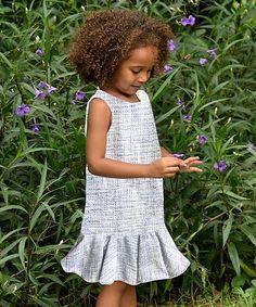 Blue & White Isabella Silk Dress - Toddler & Girls