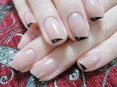Cute black tipped nails Get Nails, Love Nails, Pretty Nails, Hair And Nails, Manicure, Finger Nail Art, Garra, Minimalist Nails, Creative Nails