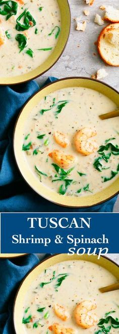 Tuscan Shrimp & Spinach Soup ~ is amazingly comforting, quick and everyone will beg for seconds!