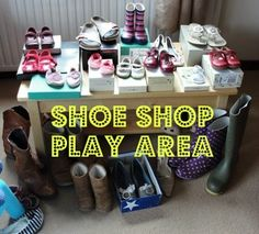 Shoe Shop Play Area selling shoes, compare different sizes of shoes/feet… Dramatic Play Area, Dramatic Play Centers, Role Play Areas, Outdoor Activities For Kids, Fun Activities, Play Shop, Wellies Boots, Play Centre, Play Spaces