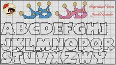 Alphabet and crown x-stitch Cross Stitch Letter Patterns, Cross Stitch Pattern Maker, Cross Stitch Letters, Cross Stitch Baby, Cross Stitch Designs, Stitch Patterns, Crochet Alphabet, Alphabet Charts, Embroidery Applique
