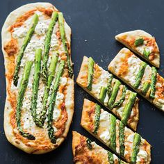 Asparagus and Goat Cheese Pizza with Red Pepper Pesto