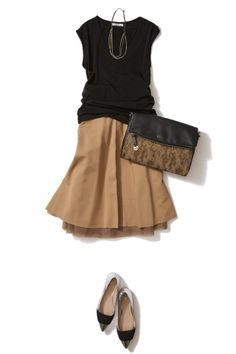 black top with tan skirt look Office Fashion, Work Fashion, Fashion 2017, Fashion Looks, Fashion Outfits, Womens Fashion, Look Street Style, Elegant Outfit, Mode Style