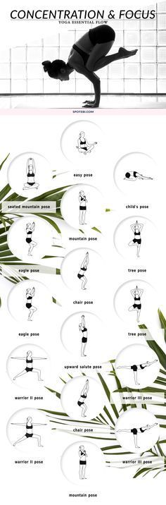 Take a yoga break at work and boost your productivity! This 8 minute yoga flow stimulates the brain and central nervous system to enhance memory and concentration, and improve your mental focus. http://www.spotebi.com/yoga-sequences/concentration-focus/