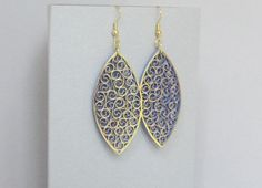 Quilled Earrings Gold on Purple Paper Filigree ♥ by BarbarasBeautys, $13.00
