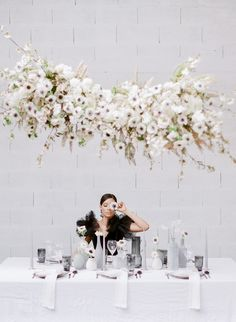 Check this amazing wedding monochromatic wedding inspiration. for all brides to be, you're bold, brilliant Paris Wedding, Wedding Art, Wedding Bride, Floral Wedding, Wedding Table, Wedding France, Wedding Dress, Summer Wedding, Light Shoot