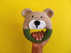 Teddy Bear Baby Rattle Crochet baby rattle Baby rattle Baby